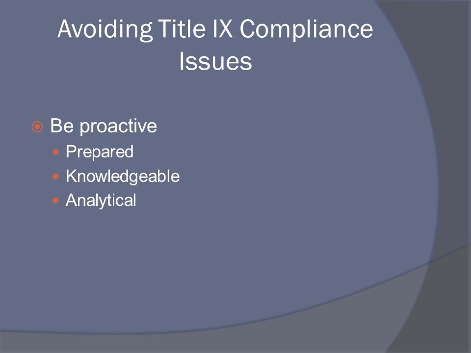 Avoiding Title IX Compliance Issues