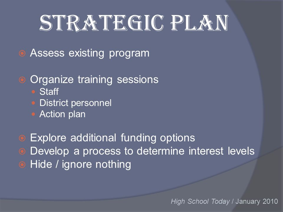 Strategic Plan Assess existing program Organize training sessions