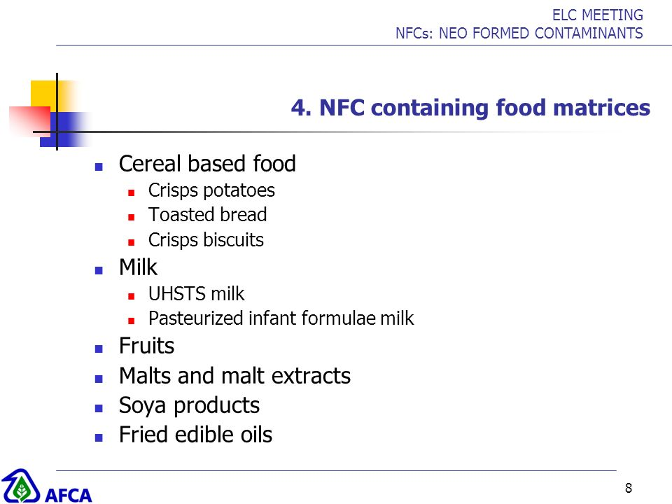 4. NFC containing food matrices