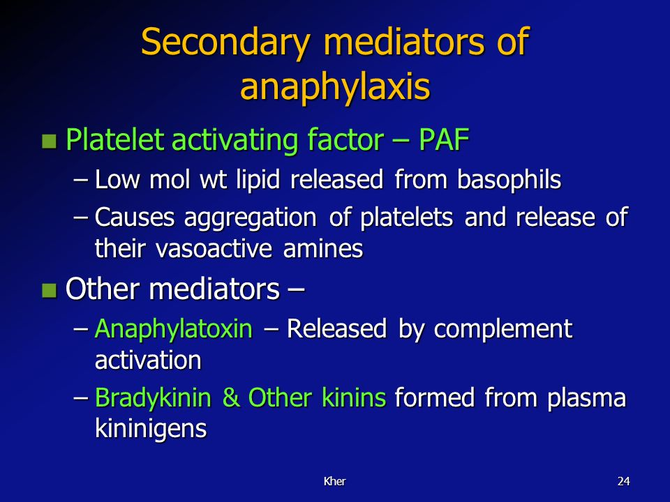 Secondary mediators of anaphylaxis