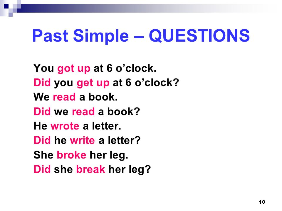 Past Simple – QUESTIONS