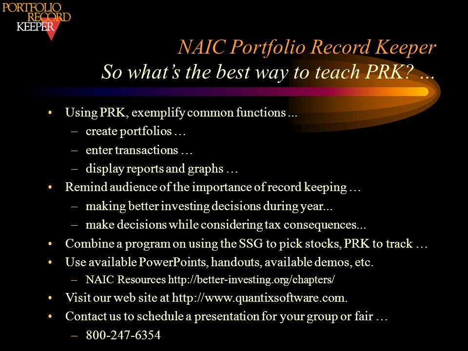 NAIC Portfolio Record Keeper So what's the best way to teach PRK ...