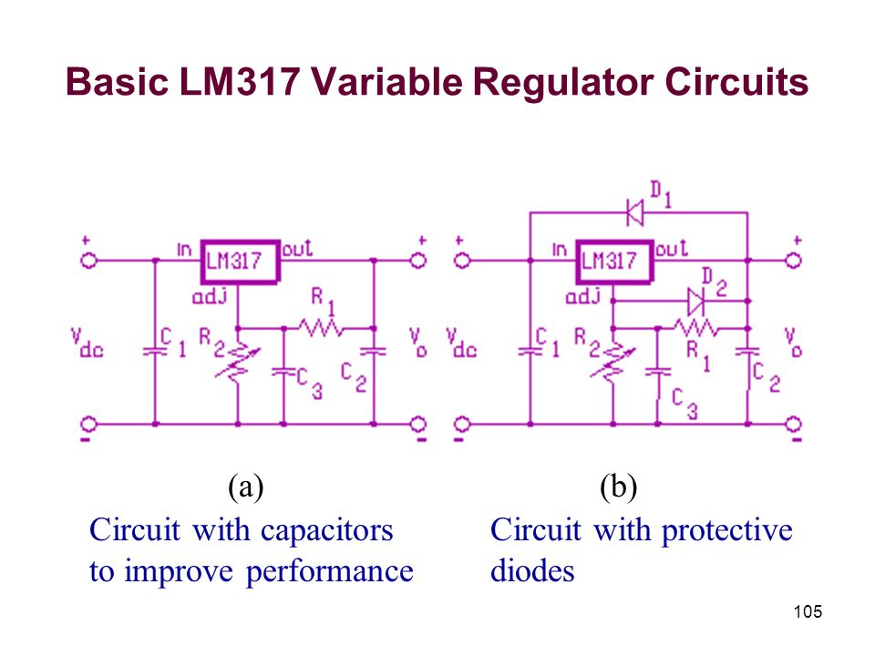 Basic LM317 Variable Regulator Circuits