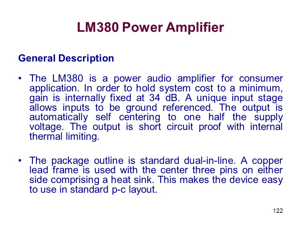 LM380 Power Amplifier General Description
