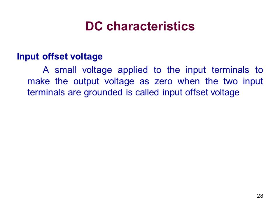 DC characteristics Input offset voltage