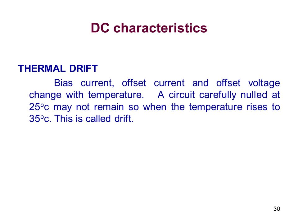 DC characteristics THERMAL DRIFT