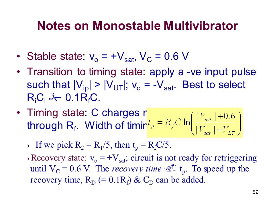 Notes on Monostable Multivibrator