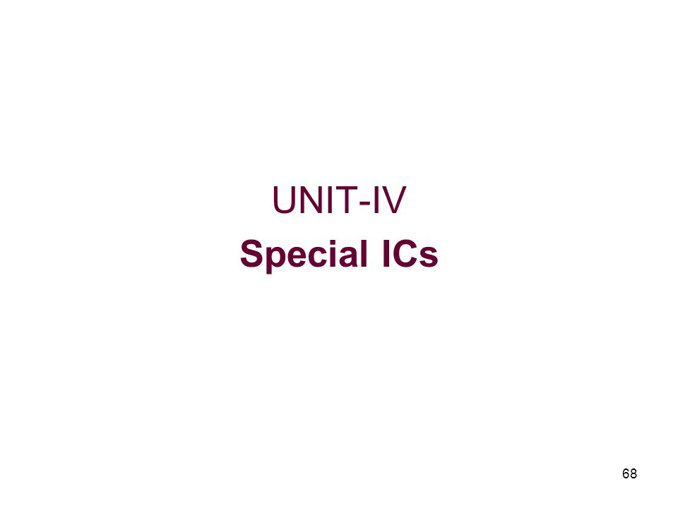 UNIT-IV Special ICs