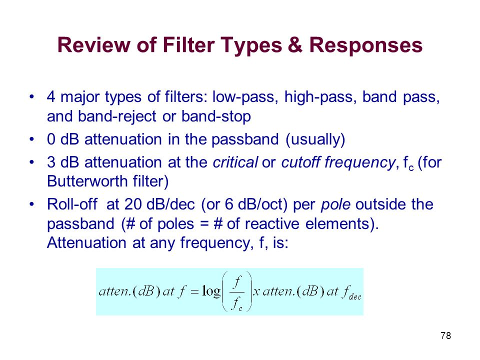 Review of Filter Types & Responses