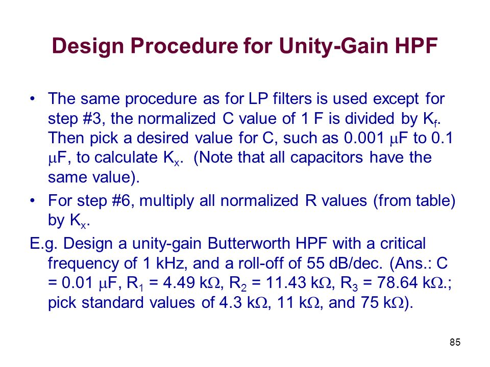 Design Procedure for Unity-Gain HPF