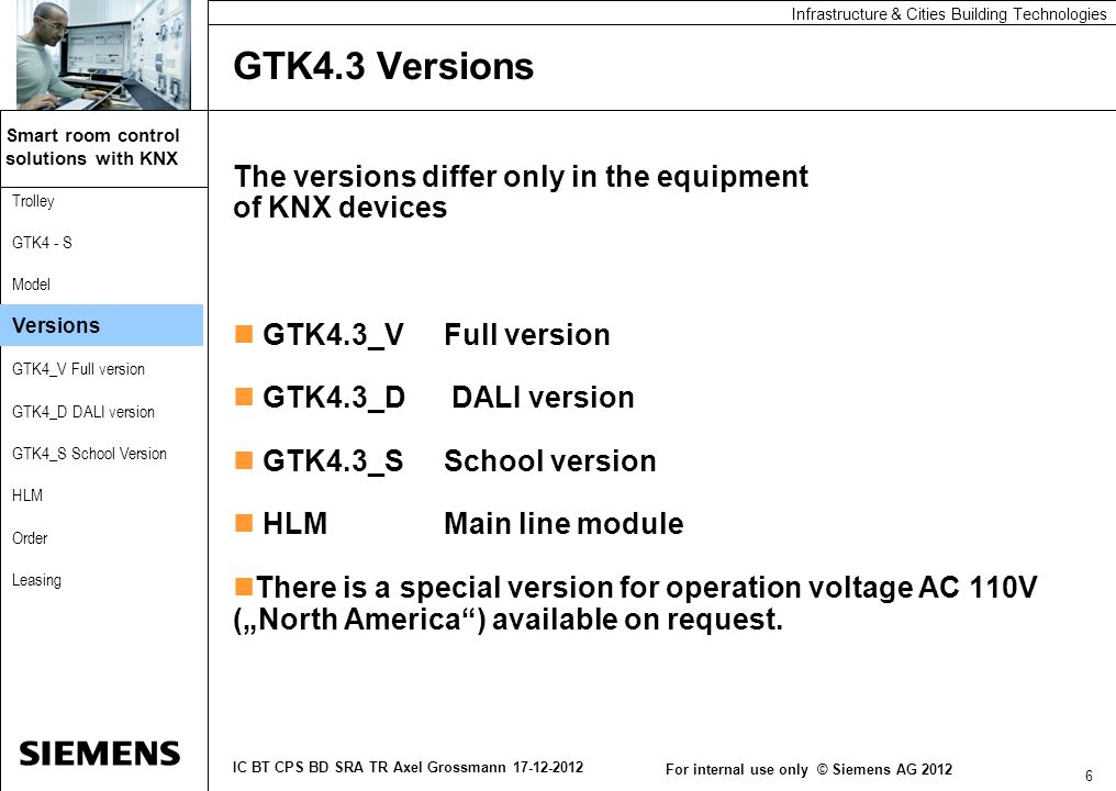 GTK4.3 Versions The versions differ only in the equipment of KNX devices. GTK4.3_V Full version. GTK4.3_D DALI version.
