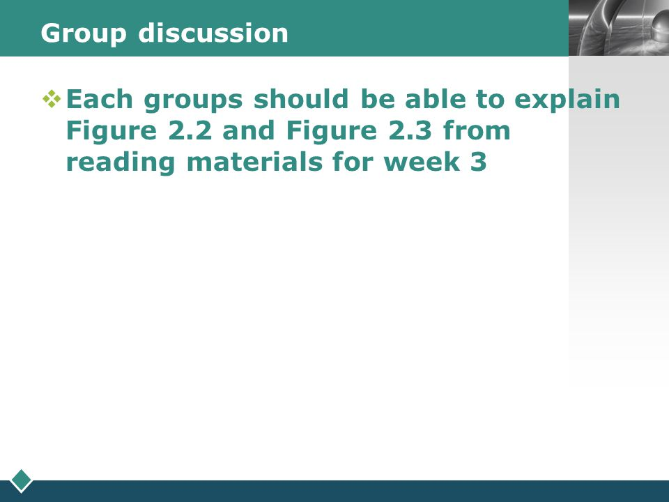 Group discussion Each groups should be able to explain Figure 2.2 and Figure 2.3 from reading materials for week 3.