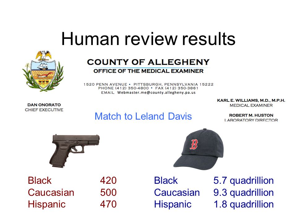 Human review results Match to Leland Davis Black 420 Caucasian 500