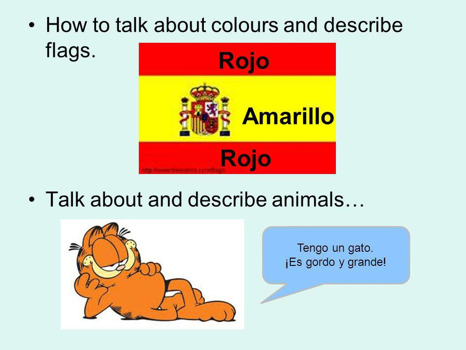 Rojo Amarillo Rojo How to talk about colours and describe flags.