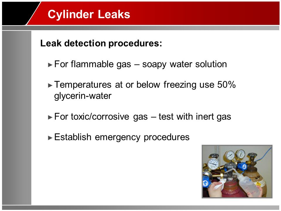 Cylinder Leaks Leak detection procedures: