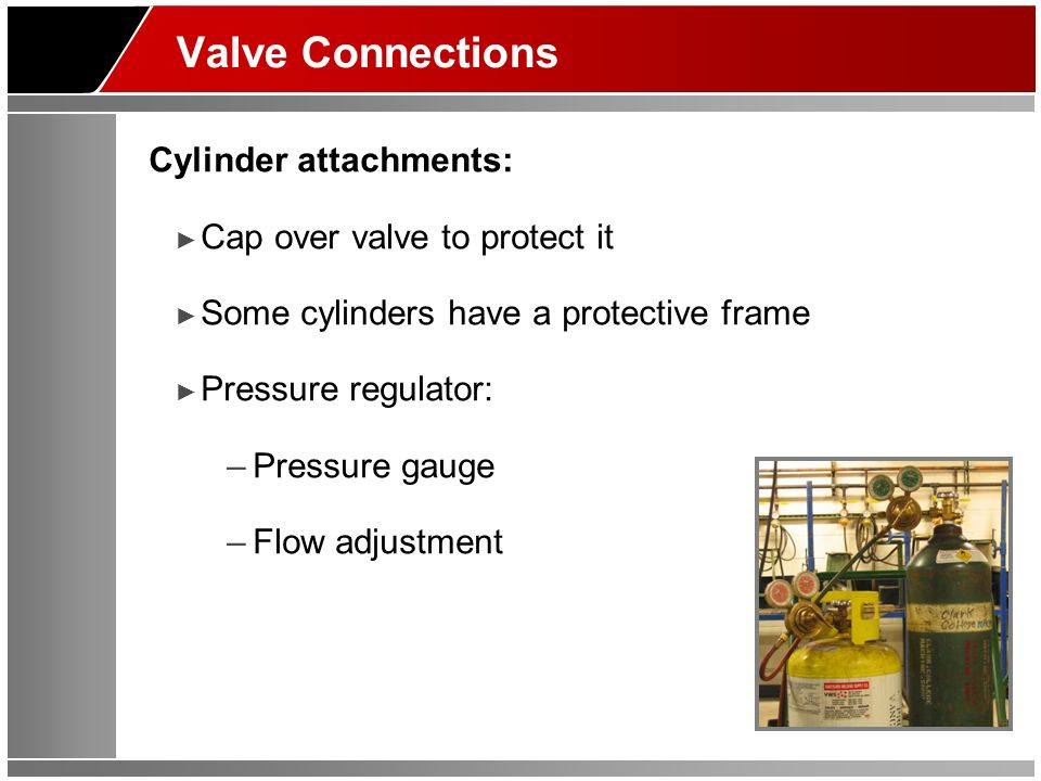 Valve Connections Cylinder attachments: Cap over valve to protect it