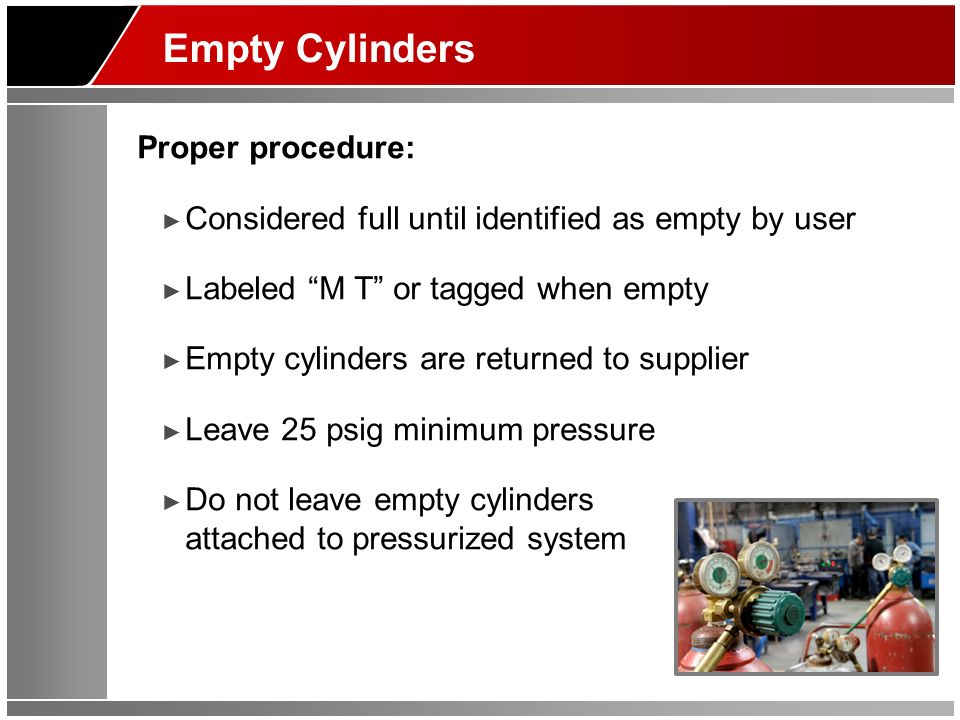 Empty Cylinders Proper procedure: