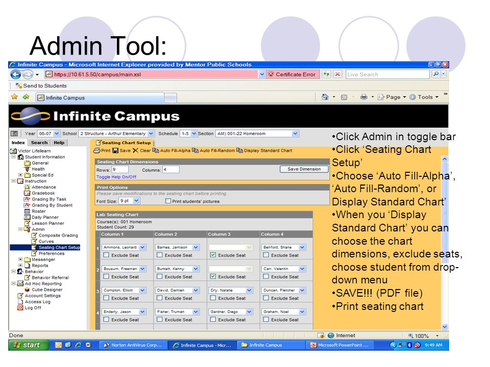Admin Tool: Click Admin in toggle bar Click 'Seating Chart Setup'