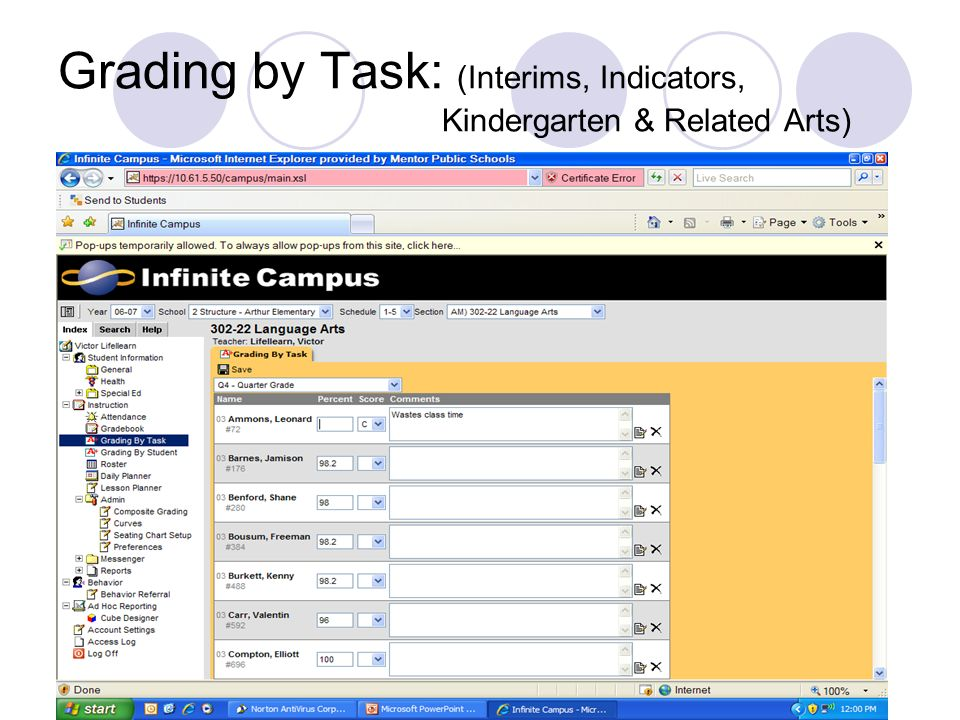 Grading by Task: (Interims, Indicators, Kindergarten & Related Arts)