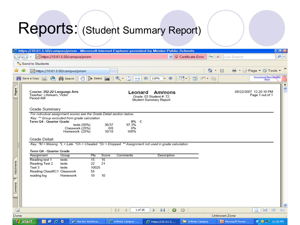 Reports: (Student Summary Report)