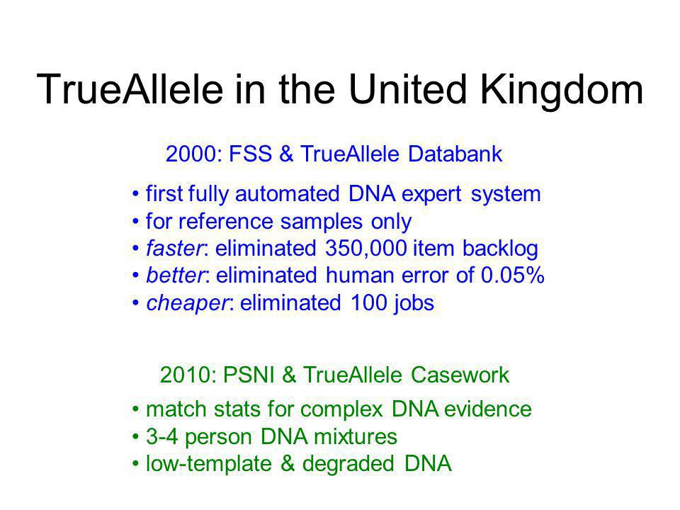TrueAllele in the United Kingdom