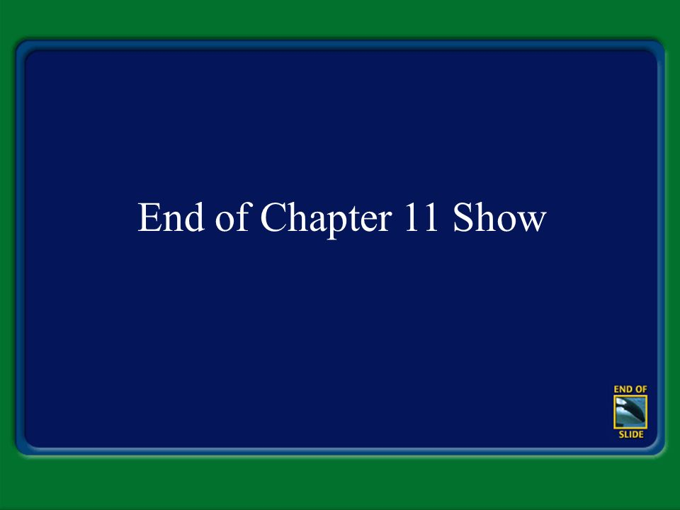 End of Chapter 11 Show