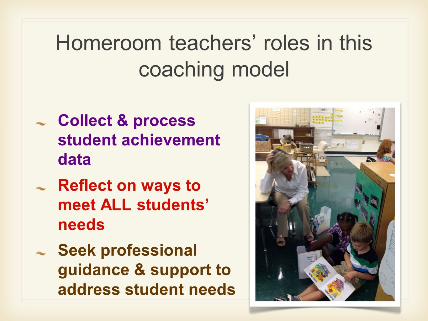 Homeroom teachers' roles in this coaching model