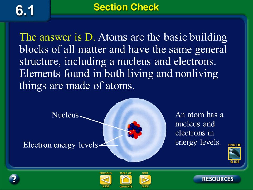 The answer is D. Atoms are the basic building blocks of all matter and have the same general structure, including a nucleus and electrons. Elements found in both living and nonliving things are made of atoms.