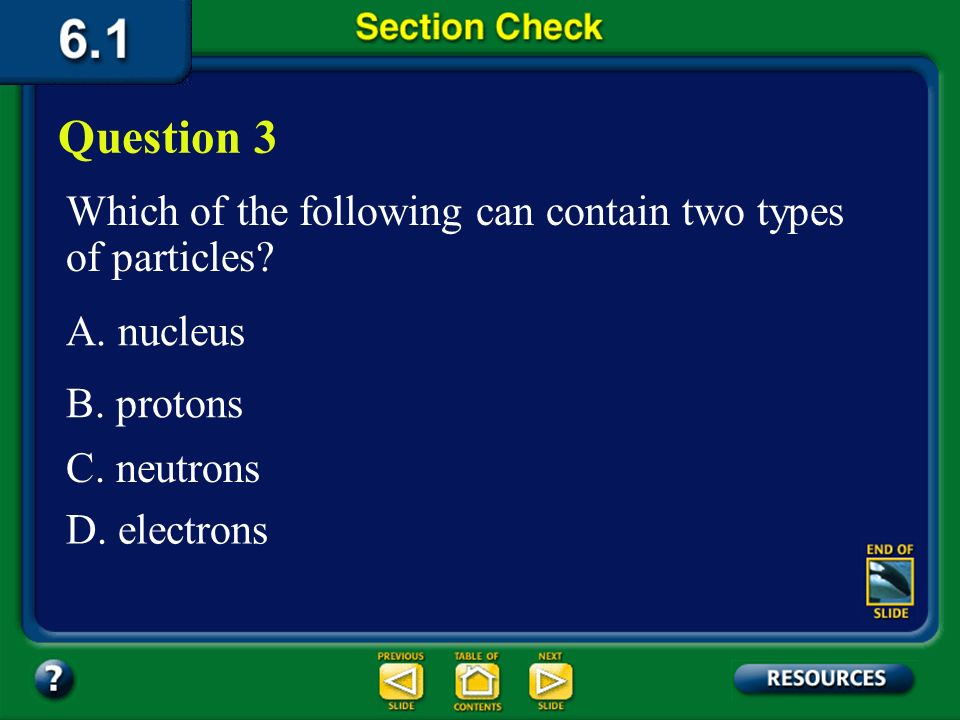Question 3 Which of the following can contain two types of particles