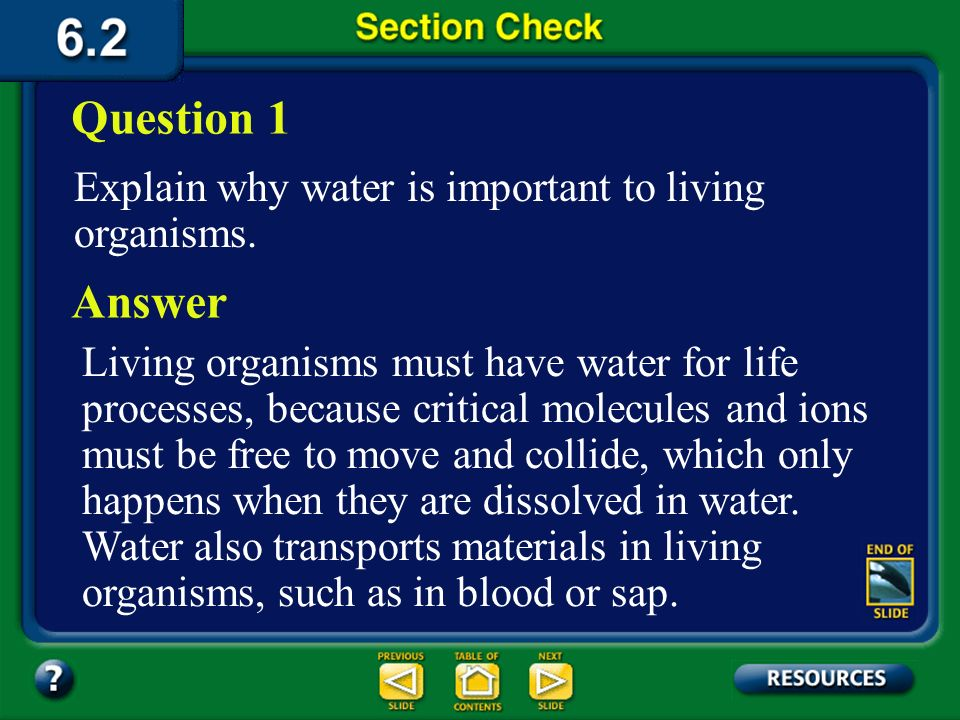 Question 1 Answer Explain why water is important to living organisms.