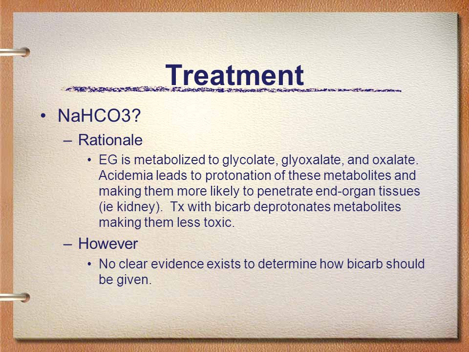 Treatment NaHCO3 Rationale However