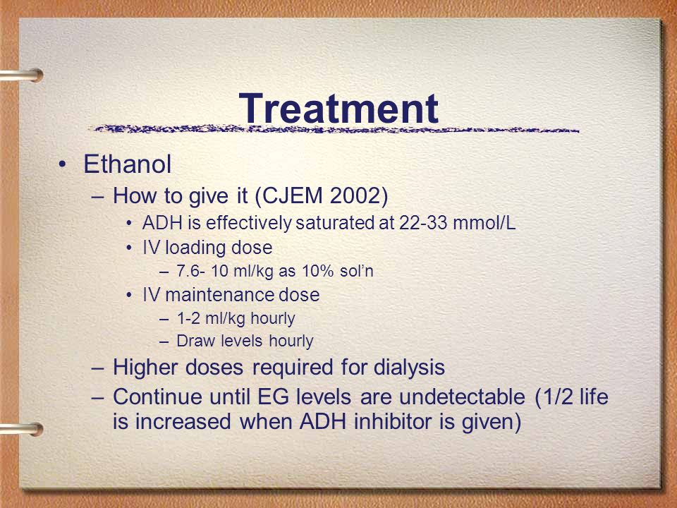 Treatment Ethanol How to give it (CJEM 2002)