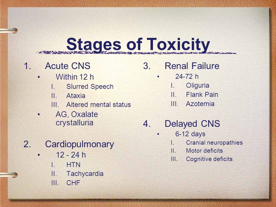 Stages of Toxicity Acute CNS Cardiopulmonary Renal Failure Delayed CNS