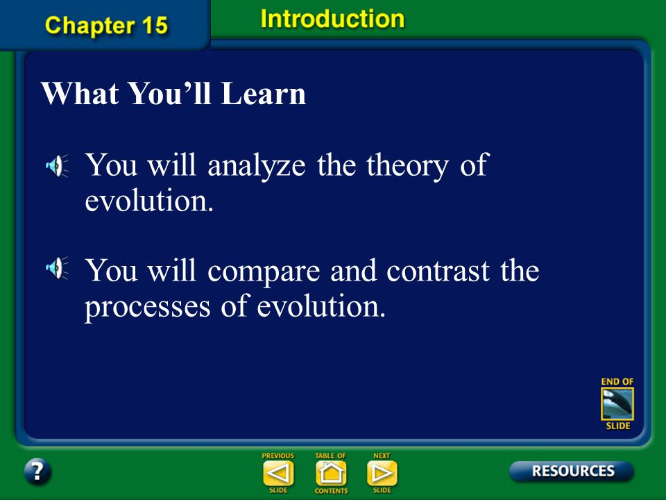 You will analyze the theory of evolution.