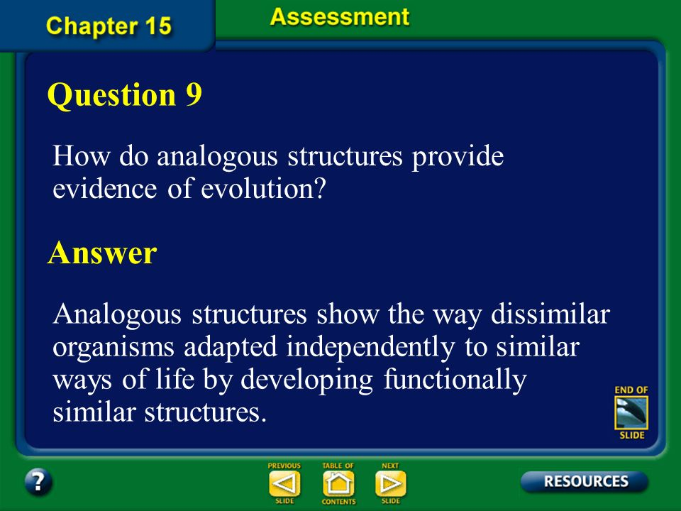 Question 9 How do analogous structures provide evidence of evolution Answer.