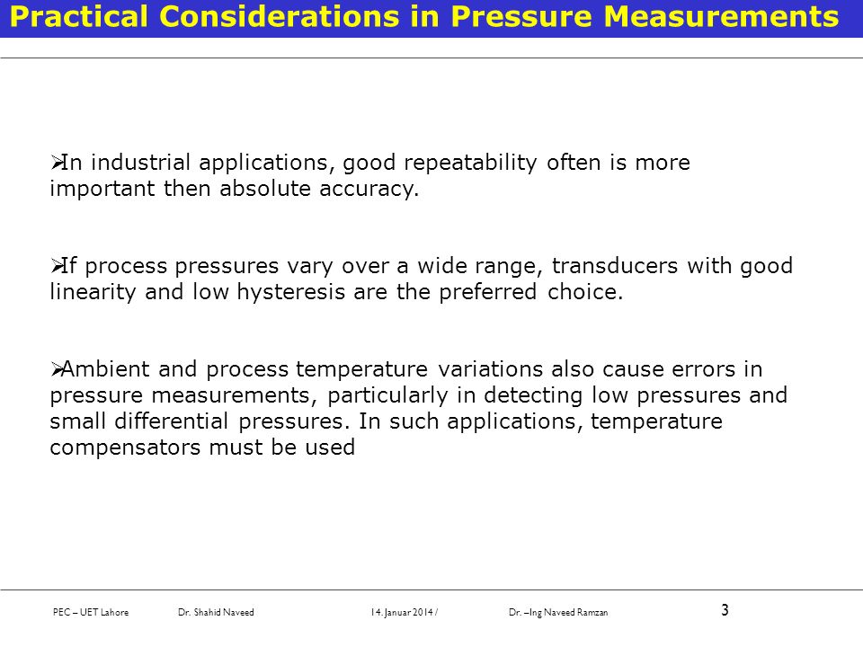 Practical Considerations in Pressure Measurements