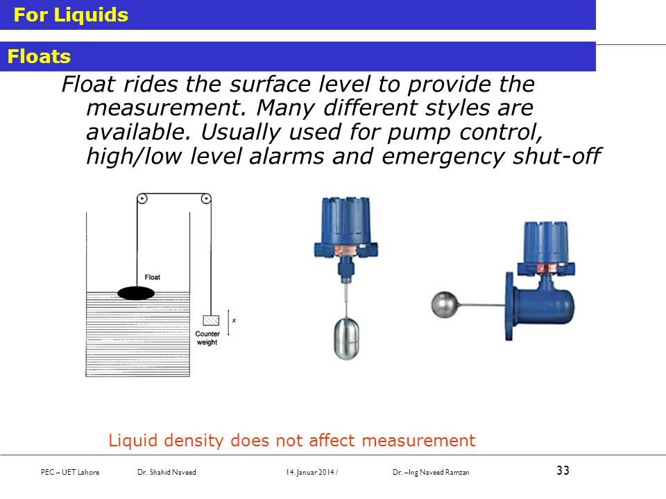 Liquid density does not affect measurement