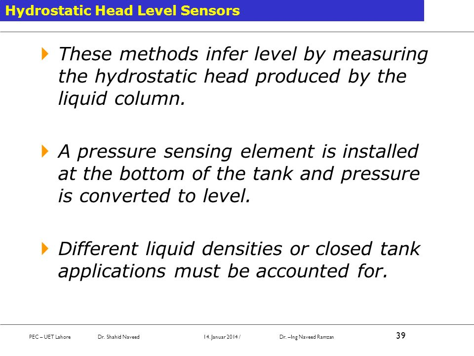 Hydrostatic Head Level Sensors