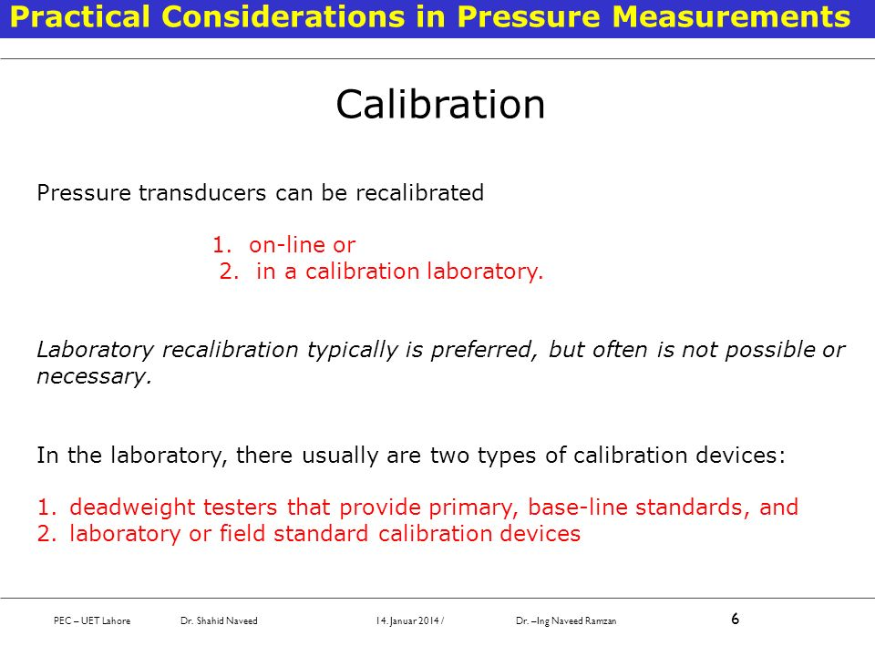 Calibration Practical Considerations in Pressure Measurements