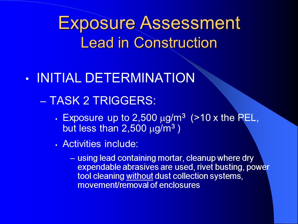 Exposure Assessment Lead in Construction