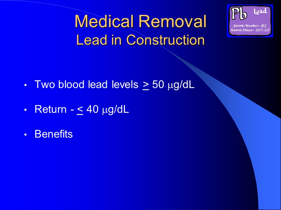 Medical Removal Lead in Construction