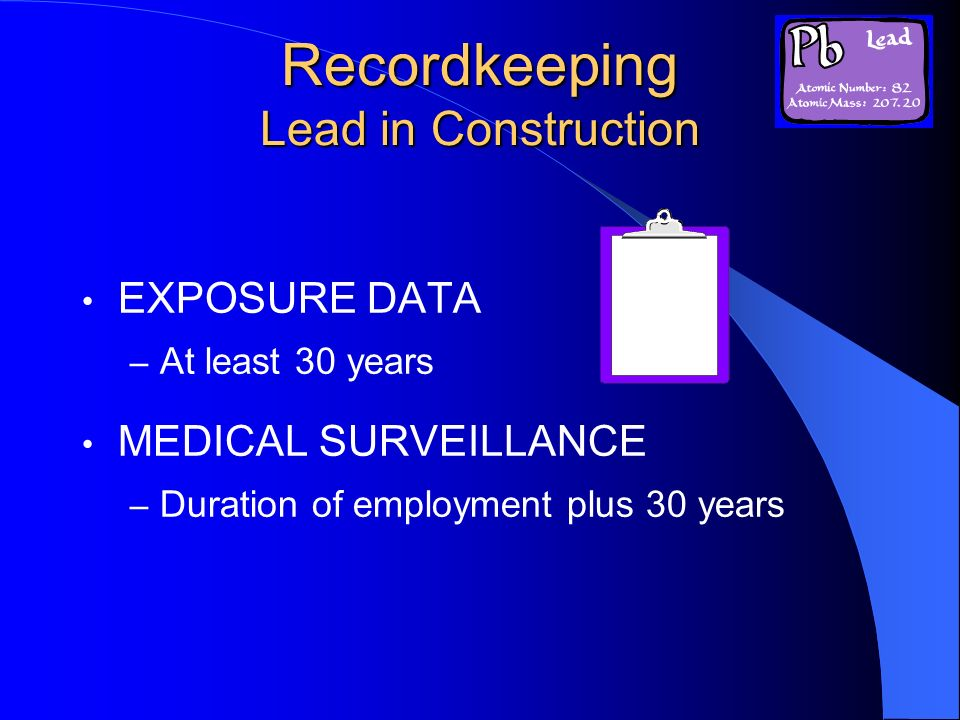 Recordkeeping Lead in Construction
