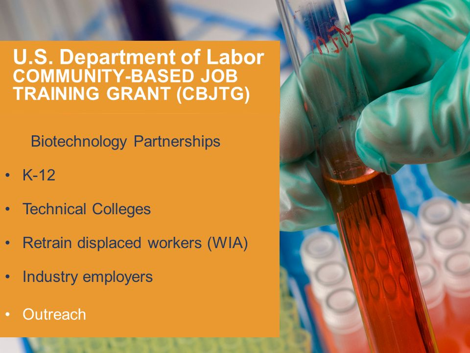 U.S. Department of Labor COMMUNITY-BASED JOB TRAINING GRANT (CBJTG)