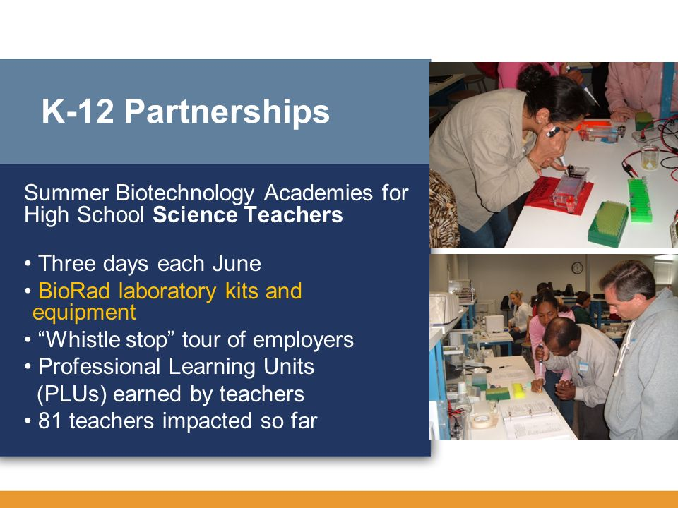 K-12 Partnerships Summer Biotechnology Academies for High School Science Teachers. • Three days each June.