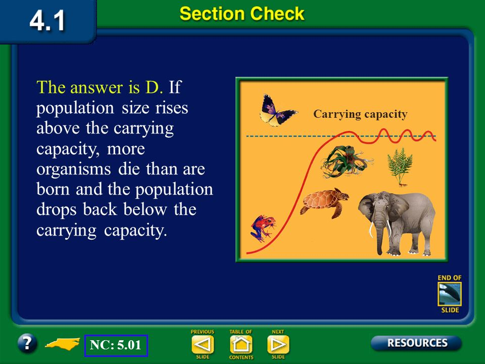 The answer is D. If population size rises above the carrying capacity, more organisms die than are born and the population drops back below the carrying capacity.
