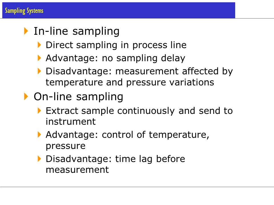 In-line sampling On-line sampling Direct sampling in process line