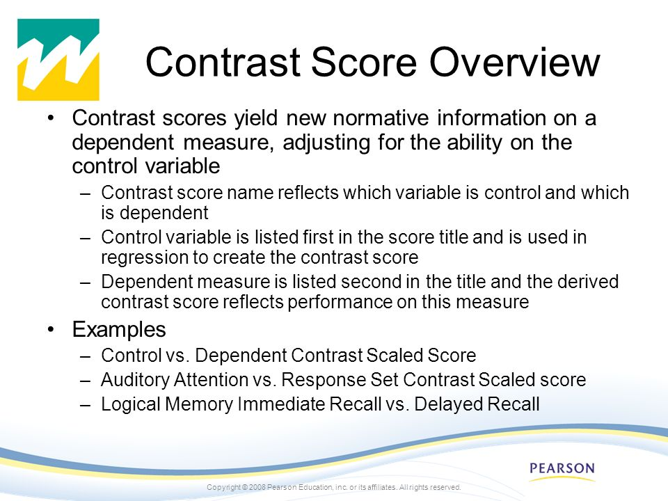 Contrast Score Overview