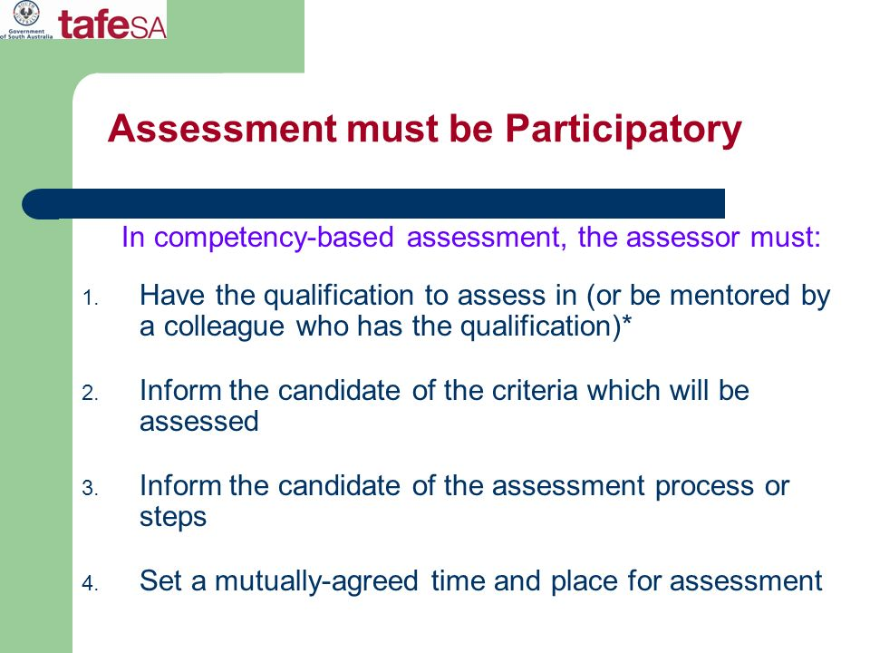 Assessment must be Participatory
