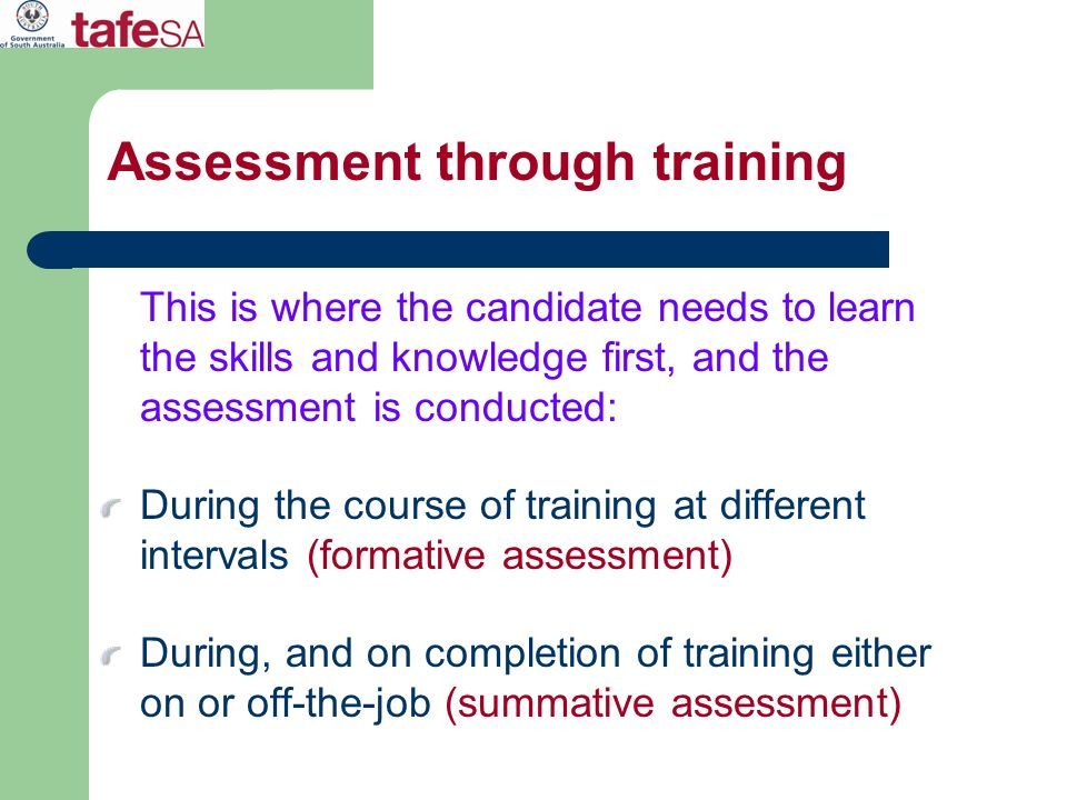 Assessment through training