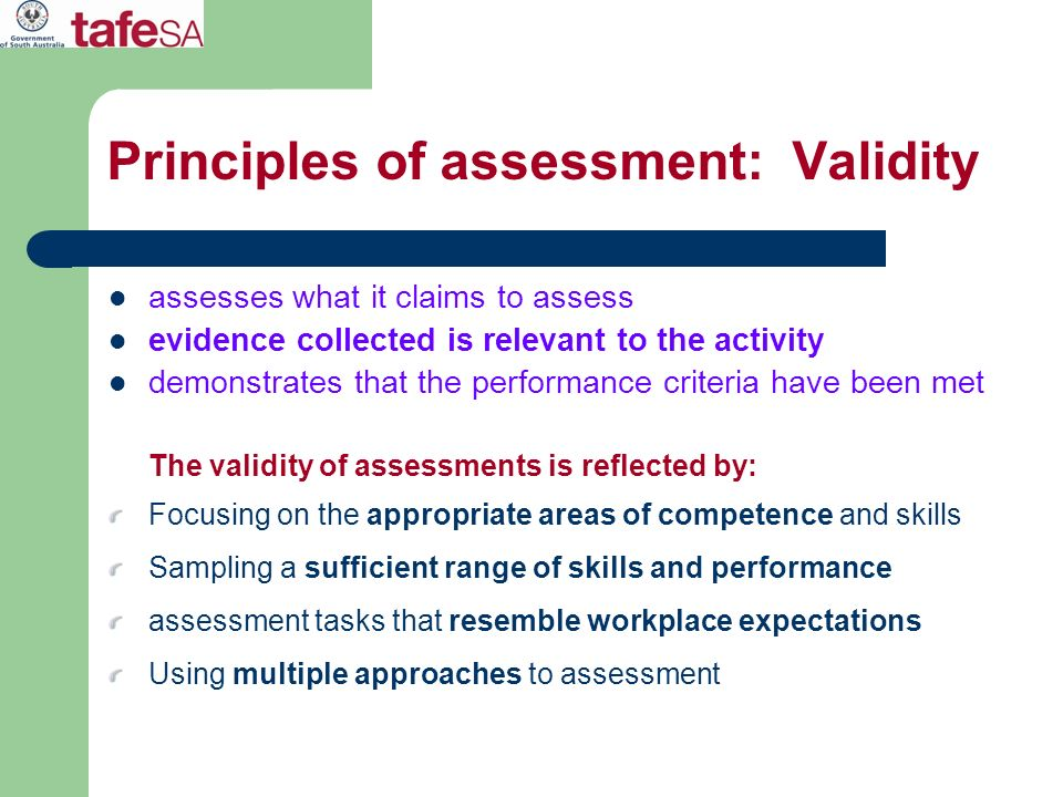 Principles of assessment: Validity